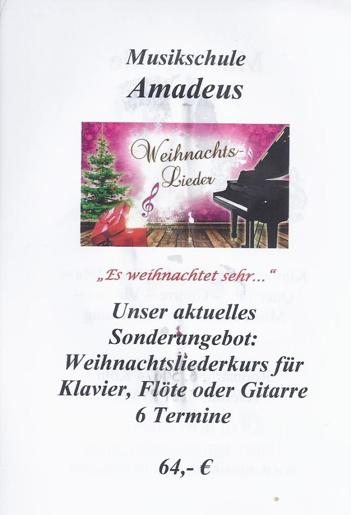 Weihnachtslieder für Klavier,flöte oder Gitarre -6 Termine -64€